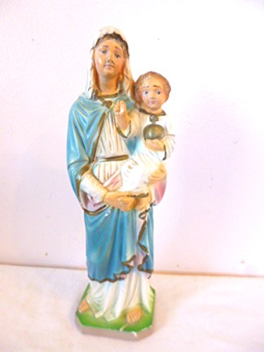"Chalkware Vintage Mary Blessed Mother Madonna and Christ Child Statue Figurine 9"" tall"