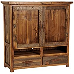 Mountain Woods Furniture The Wyoming Collection Two-Drawer Two-Shelf Armoire for Flat-Screen TV, Wood Pull