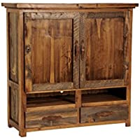Mountain Woods Furniture The Wyoming Collection Two-Drawer Two-Shelf Armoire for Flat-Screen TV, Antler Pull