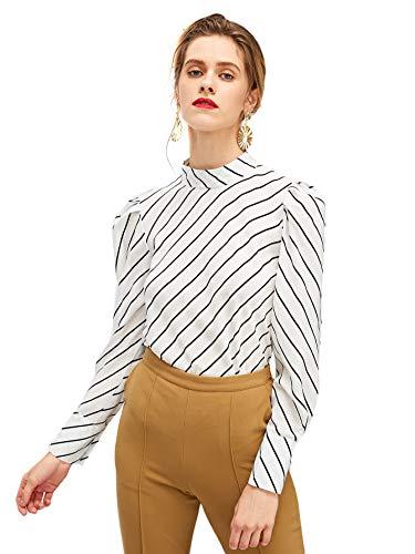 (Romwe Women's Striped Check Print Mock Neck Puff Sleeve Blouse Top White XS)