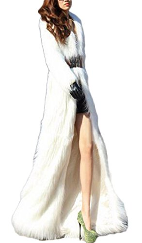 Women's Winter Outerwear Lapel Long Maxi Faux Fur Coat White
