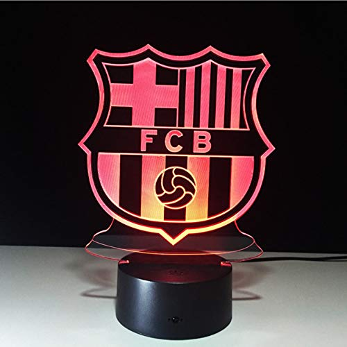 (Football Team FCB Night Light Football Club 3D Illusion Table Lamp Colors Changing Luminary Touch Lights)