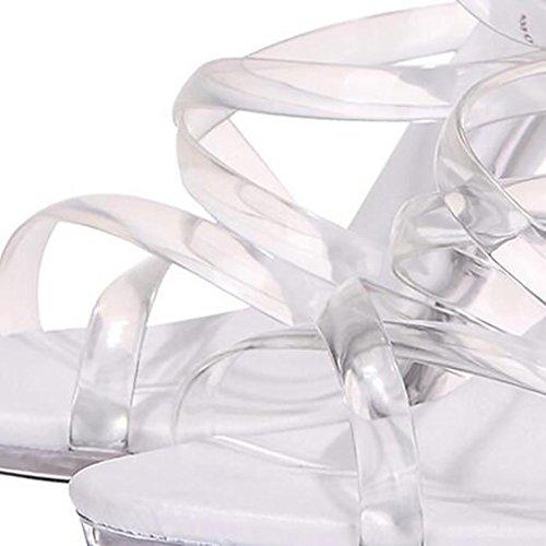 Straps Modèle Chaussures Llp Talons Femmes Plate Imperméable Cristal Épais Transparent Sandales Hauts forme Fond qOfC6BO5