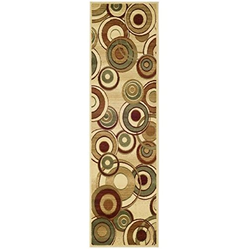 Geometric Earthy Circles Themed Area Rug, Featuring Geo Circles Polka Dots Design, Runner Indoor Hallway Doorway Bedroom Sofa Patio Carpet, Graphic Abstract Art Pattern, Beige, Brown, Size 2'3 x 12'