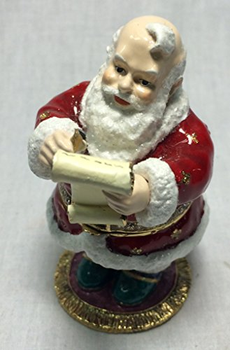 Santa Claus Shopping List Christmas Trinket Jewelry Rhinestone Jeweled Box New (TJ1331)