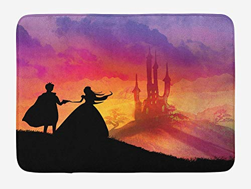 (Weeosazg Fantasy Bath Mat, Silhouette of Prince and Princess Magical Castle House Fairytale Dream Girls Image, Plush Bathroom Decor Mat with Non Slip Backing, 23.6 W X 15.7 W Inches,)