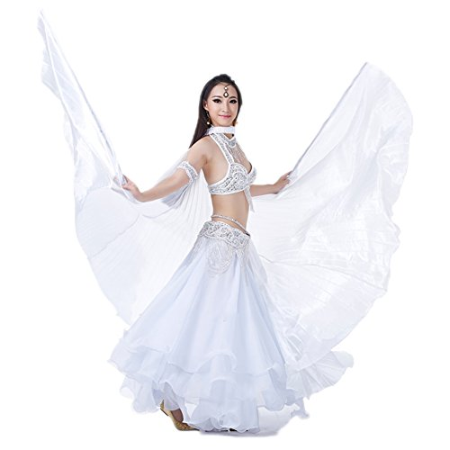 AvaCostume Exotic Belly Dance Costume Big Isis Wings, White ()