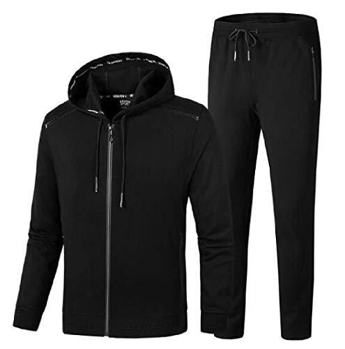AngelSpace Mens Hooded Plus Size Vogue Cardigan Sweatsuit Pants Set Black 2XL