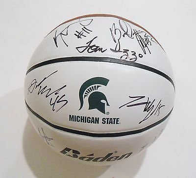 2013-14-Michigan-State-Spartans-Team-Signed-Basketball-wCOA-Appling-Izzo