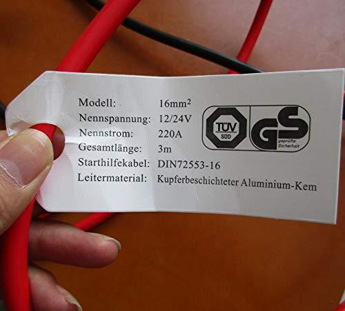 Cartman Isolierte Starthilfekabel 16mm2-3m lang Erf/üllt GS DIN 72553-16