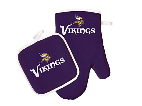 (Pro Specialties Group NFL Minnesota Vikings Oven Mitt and Pot Holder Set)