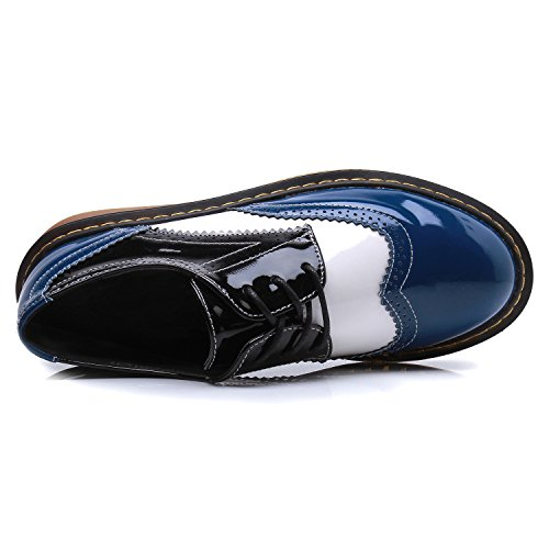 Smilun Girl¡¯s Derby Classic Lace-up Shoes Pantent Leather Flats Pantent Leather Office Business Dress Shoes for Girl Blue White Black Size 6 B(M) US by Smilun (Image #3)