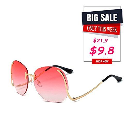 Paciffico Unisex Adults Fashion Oversized Aviator Sunglasses Metal Frame Mirror Frameless Eyeglasses PC Lens Glasses UV400
