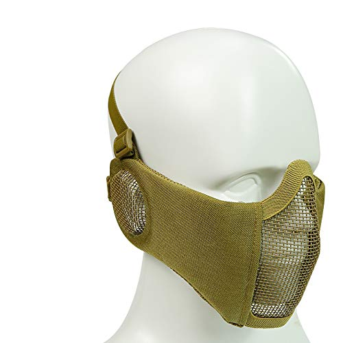 Simways Half Face Mask Lower Steel Mesh Mask with Ear Guard Protection for Airsoft Paintball BBS Shooting (Tan)