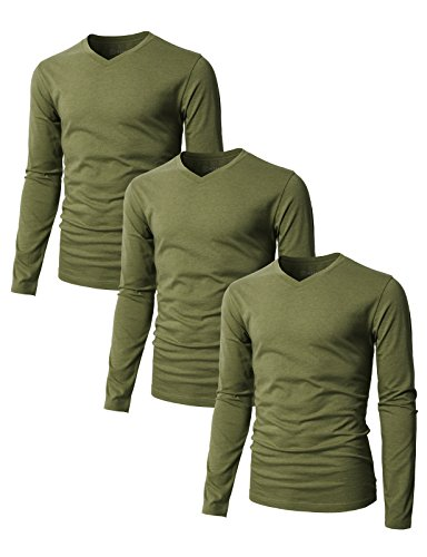 H2H Men's Slim Fit Basic V-neck Long Sleeve T-shirt with Cotton Blend fabric OLIVEGREEN US 2XL /Asia 3XL (SET3KMTTL0374),3 pack by H2H