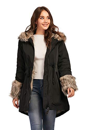 TIENFOOK Womens Parka Jacket Winter Coat with Drawstring Waist Thicken Fur Hood Lined Warm Reversible Design Outwear Jacket (Black, Small)