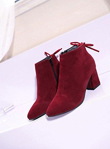Burgund 39 UK6 Burgund 39 Booties aus Khaki Stiefeletten QTZS Nubukleder Herbst Stiefel Schuhe 8 CN Winter für Casual Frauen EU 's US Mode Schwarz pwwqRASO