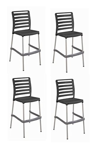 Anthracite Bar (Tensai Diva Bar Stool - Anthracite - Set of 4)