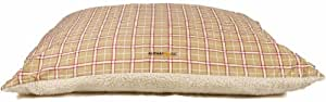AlphaPooch Softie Rectangular Dog Bed, Red and Tan Plaid Fabric with Fleece, Small
