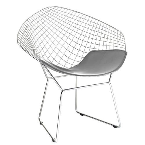 (Bertoia Style Diamond Chair in Chrome Finish with Grey Seat Pad)