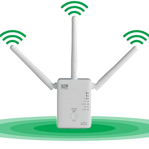 Maginon WiFi Range Extender Repeater AC750 Dual Band Signal Booster | WiFi Coverage up to 750Mbps | 3 Modes | 3 External Antennas (WLR-753) from Maginon