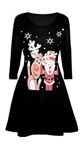 Damen Damen Santa Schneeflocke Rentier Wand Kostüm Weihnachten Xmas Swing Kleid Santa Rentier Schwarz