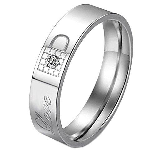 Men - Size 8 - KONOV Stainless Steel Cubic Zirconia Key & Lock Love Couples Promise Ring Wedding Band