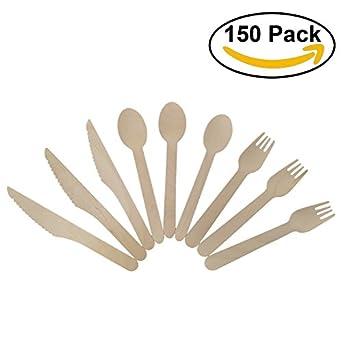 Desechables de madera cubiertos de 150PC, 50 tenedores, 50 ...