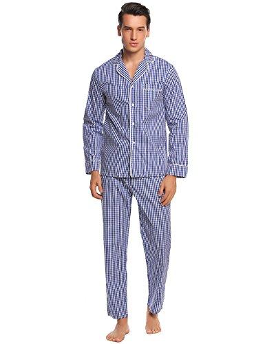 Ekouaer 2 Piece Mens Pajamas, Button Up Shirt and Elastic Waist Pants Set(Blue (2 Piece Elastic Waist Pajama Set)