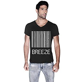 Creo Black Cotton V Neck T-Shirt For Men