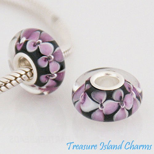Pink Flower Black LAMPWORK Murano Glass 925 Sterling Silver European Bead Charm Crafting Key Chain Bracelet Necklace Jewelry Accessories Pendants ()