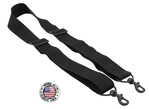 Made In USA Black Poly Webbing Replacement Travel Luggage Bag Adjustable Shoulder Strap 1.5''W x 60''L Black Metal Hardware by Travel Trends