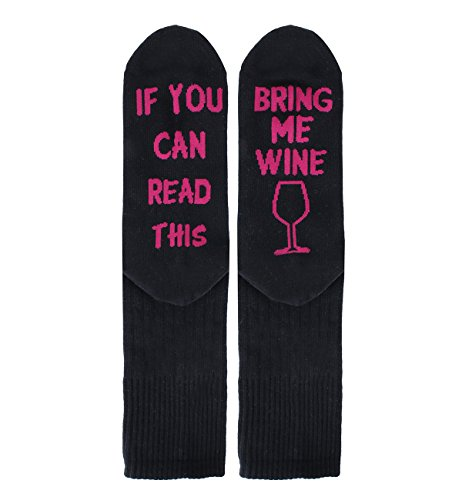 If You Can Read This Bring Me Wine Fun Socks for Women, Funny Silly Saying Socks ()