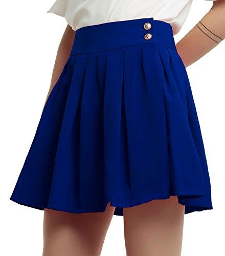 chouyatou Women's Double Waist Side Buttons Pleated Skirt (Medium, Blue)