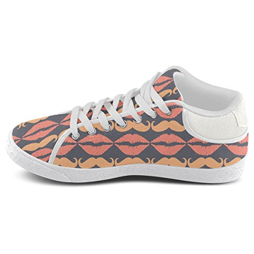 Orange For Hipster Artsadd Shoes Charcoal Model003 Chukka Lips Mustache and Canvas Men zwwdqxO