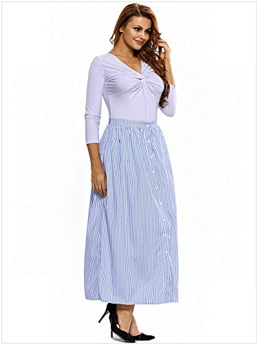 Et Bleu Blanche Jupe s Taille Girl Haute Fendue cloth Raye Bleue MTX AaHwqFv8