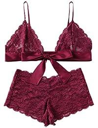 654268af6b3 Women s 2 Piece Sexy Lace Strap Bralette Bra and Panty Lingerie Set