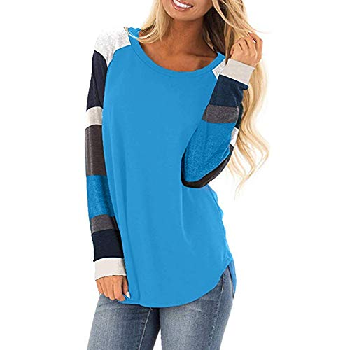 Price comparison product image Liraly Womens Tops Clearance New Fashion Women Casual Color Block Long Sleeve Pullover Tops Loose Tunic Sweatshirt Autumn Shirt(Blue, US-8 / CN-L)