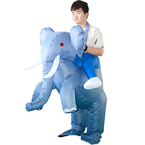 Adult Carnival Games (HUAYUARTS Inflatable Costume Gray Ride on Elephant Game Cloth Adult Funny Blow up Suit Halloween Cosplay Gift, Free)