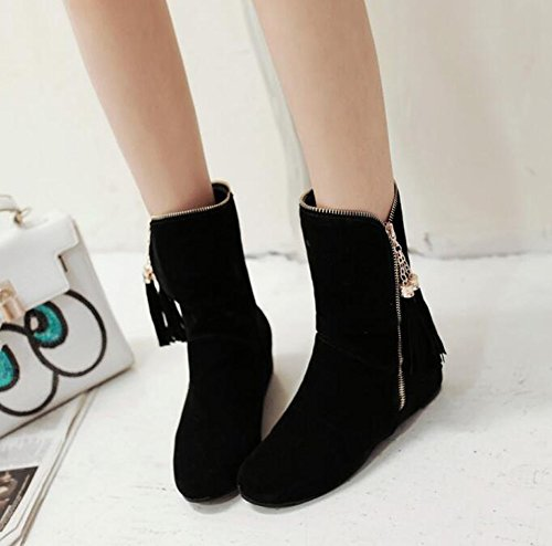 Negro Estudiante Shoes Beauqueen Zapatos Heel Botines up Winter Comfortable Zip Antideslizante Warm Cosy Flat BnqdwOxfaq