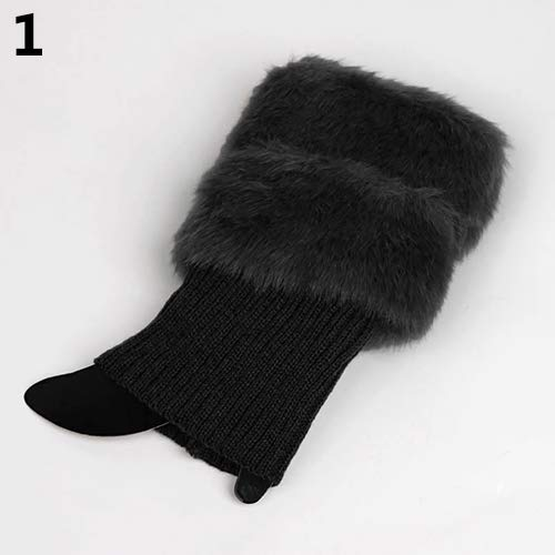 yanbirdfx Women's Autumn Winter Leg Warmers Fashion Furry Ribbed Boot Cuffs Boot Toppers Black