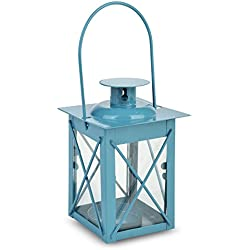 WGI Turquoise Square Hurricane Tea Light Candle Lantern Novelty (Set of 2)