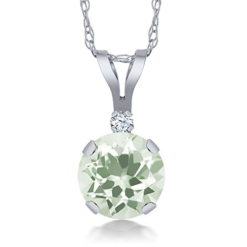 0.97 Ct Round Green Amethyst White Created Sapphire 14K White Gold Pendant