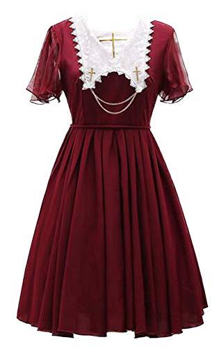 Rosso Da Lolita Abito Cosplay Costume Steampunk Medievaleabito Gotico Religioso Donna Nspstt Fq7wxavHn