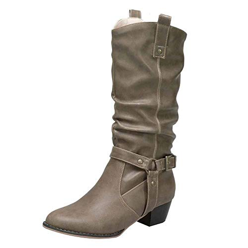 - Boomboom Cool Style Women Low Heels Knee High Artificial Leather Boots(Khaki,US 6)