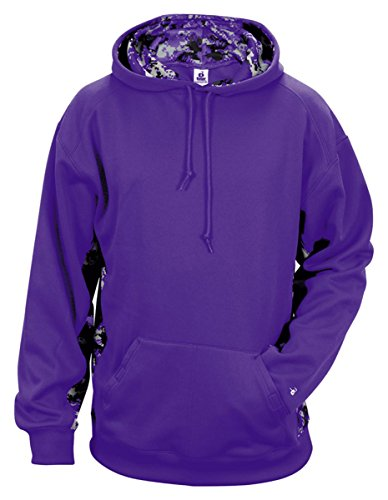 Badger Fleece Sweatshirt - Badger Mens Digital Color Block Hooded Fleece (1464) -PURPLE/PRP -L