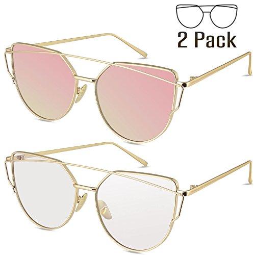 Livhò Sunglasses for Women, 2 Pack Cat Eye Mirrored Flat Lenses Metal Frame Sunglasses UV400 (Gold Pink + Gold - Sunglasses White Gold