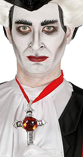 (Ladies Mens Ruby Crucifix Cross Necklace Halloween Vampire Religious Holy Fancy Dress Costume Outfit)