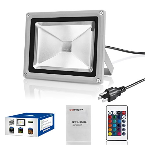 Outdoor Security Lights That Plug In: Warmoon Outdoor LED Flood Light 20W RGB Color Changing