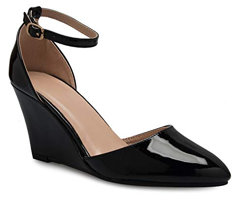 OLIVIA K Women's Sexy Strappy Platform Wedge with Ankle Strap - Classic, ()